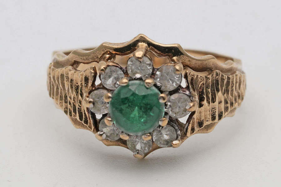 1940s gold cluster ring