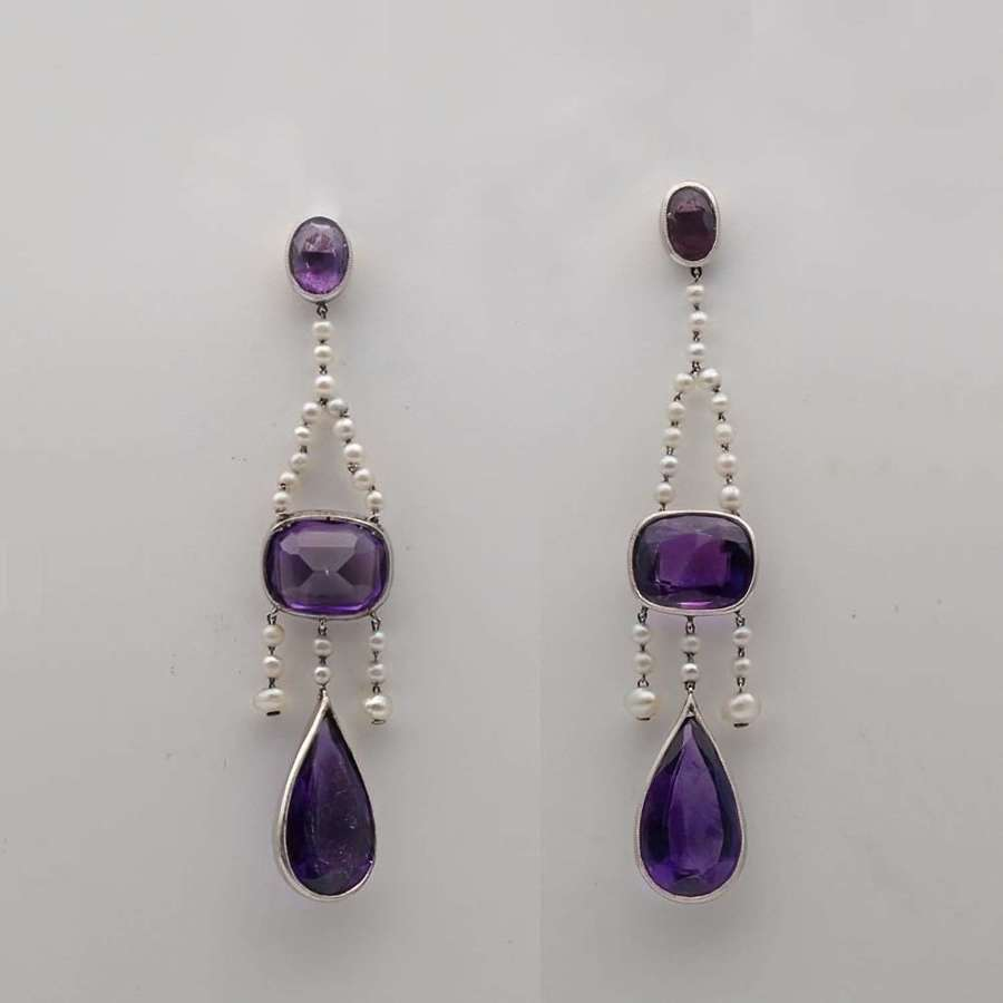 Antique amethyst and pearl earrings