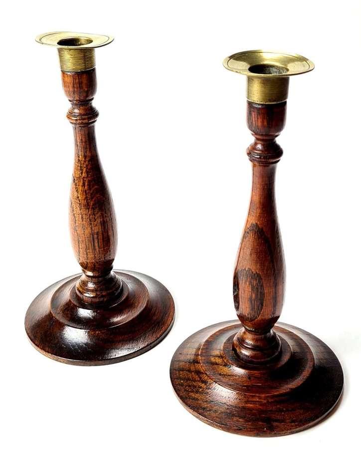Pair of Oak Candlesticks