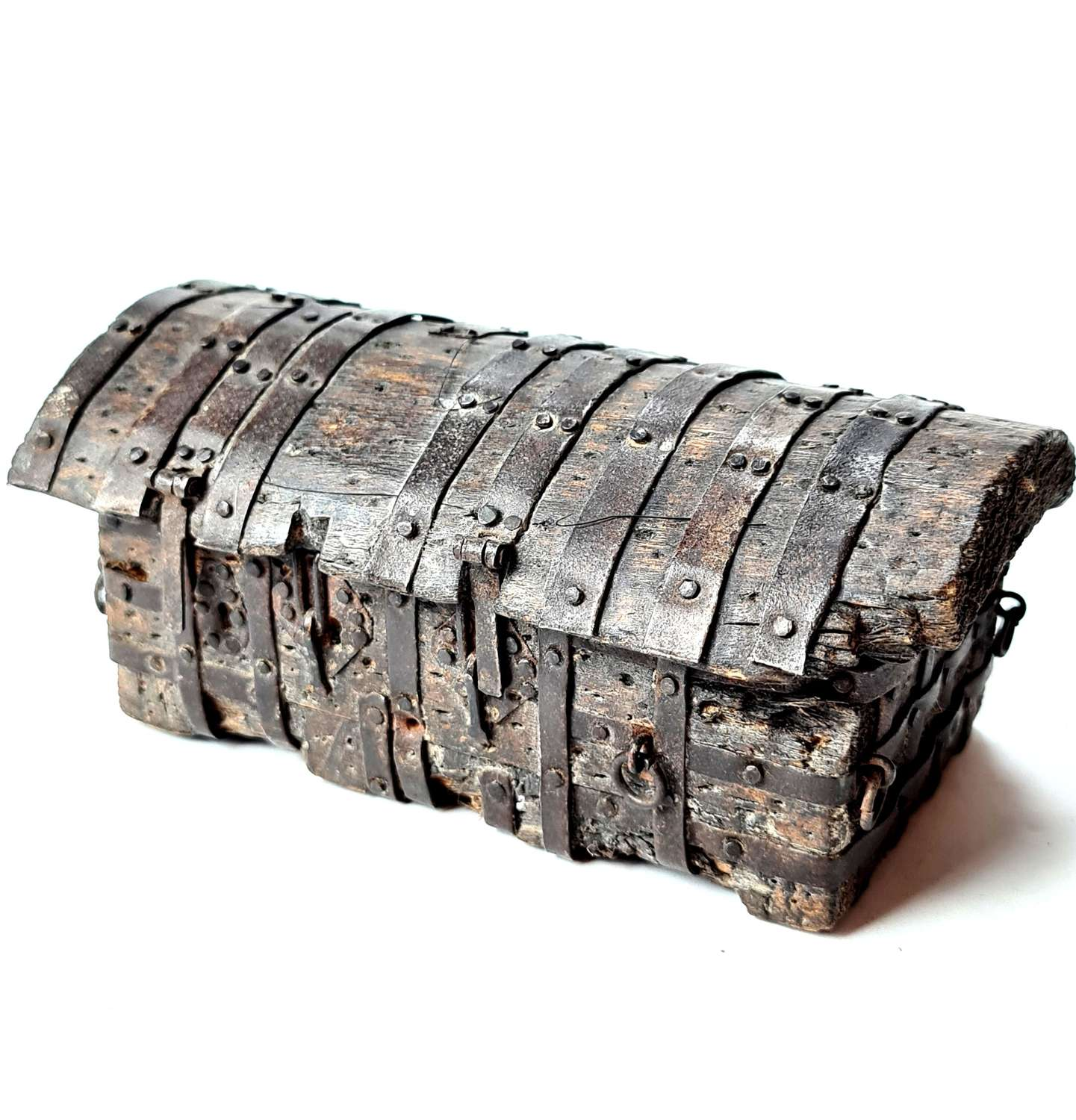 Spanish dug out iron bound chest