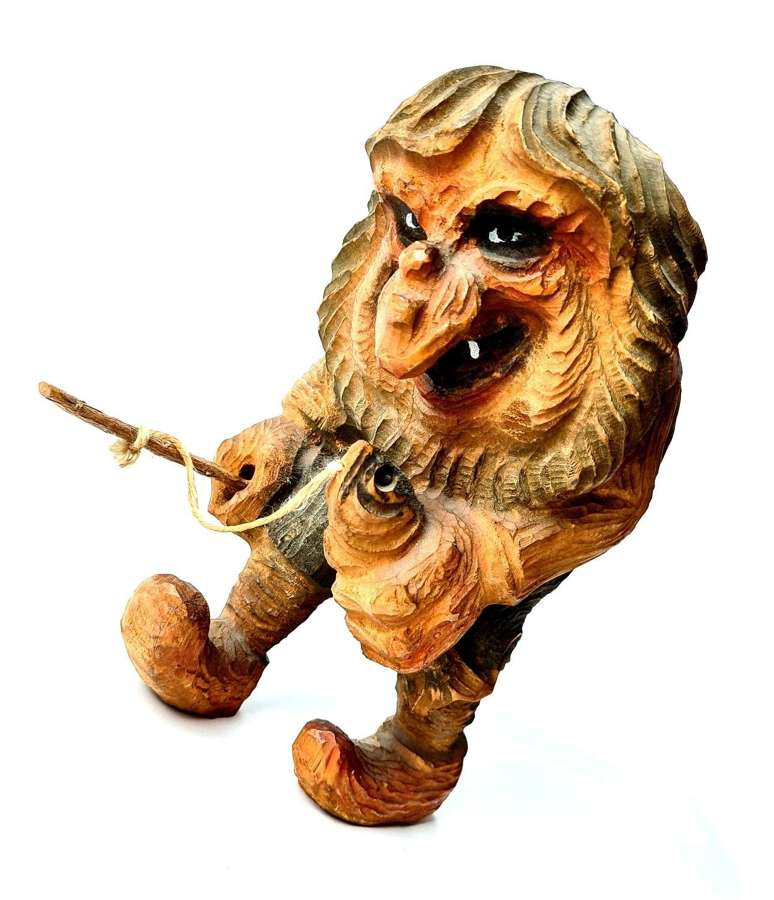 Norwegian Carved Wooden Troll