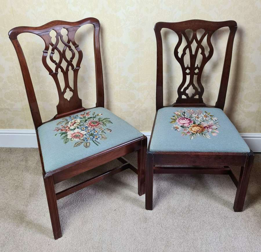 Matched Pair of Georgian Chippendale Style Chairs