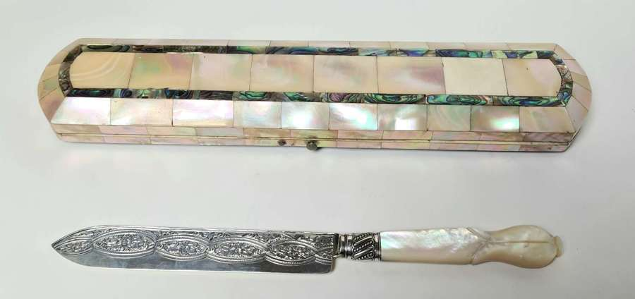 Mother of Pearl Cased Silver Cake Knife