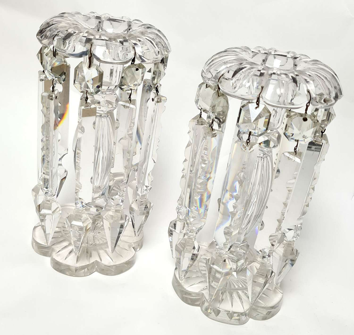 Pair of Clear Glass Lustres