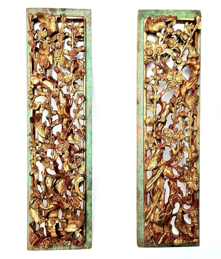 Pair of Large Carved Gilded Panels