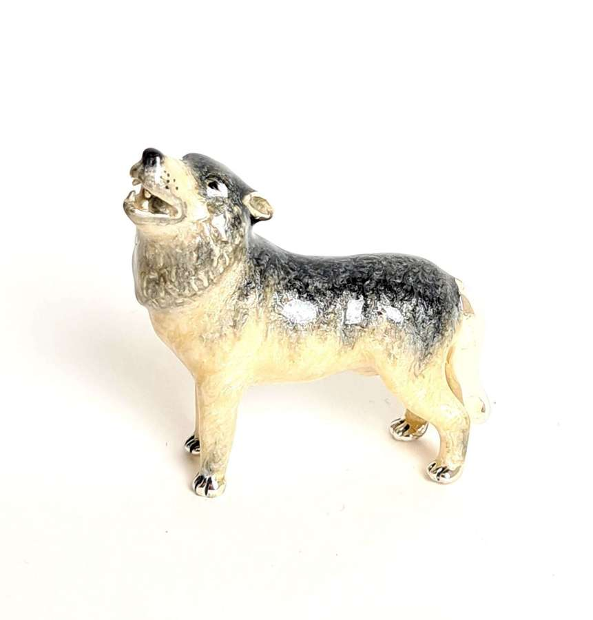 Silver and Enamel Wolf