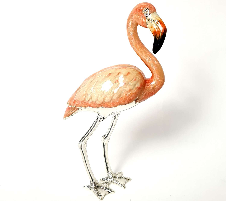 Silver and Enamel Flamingo