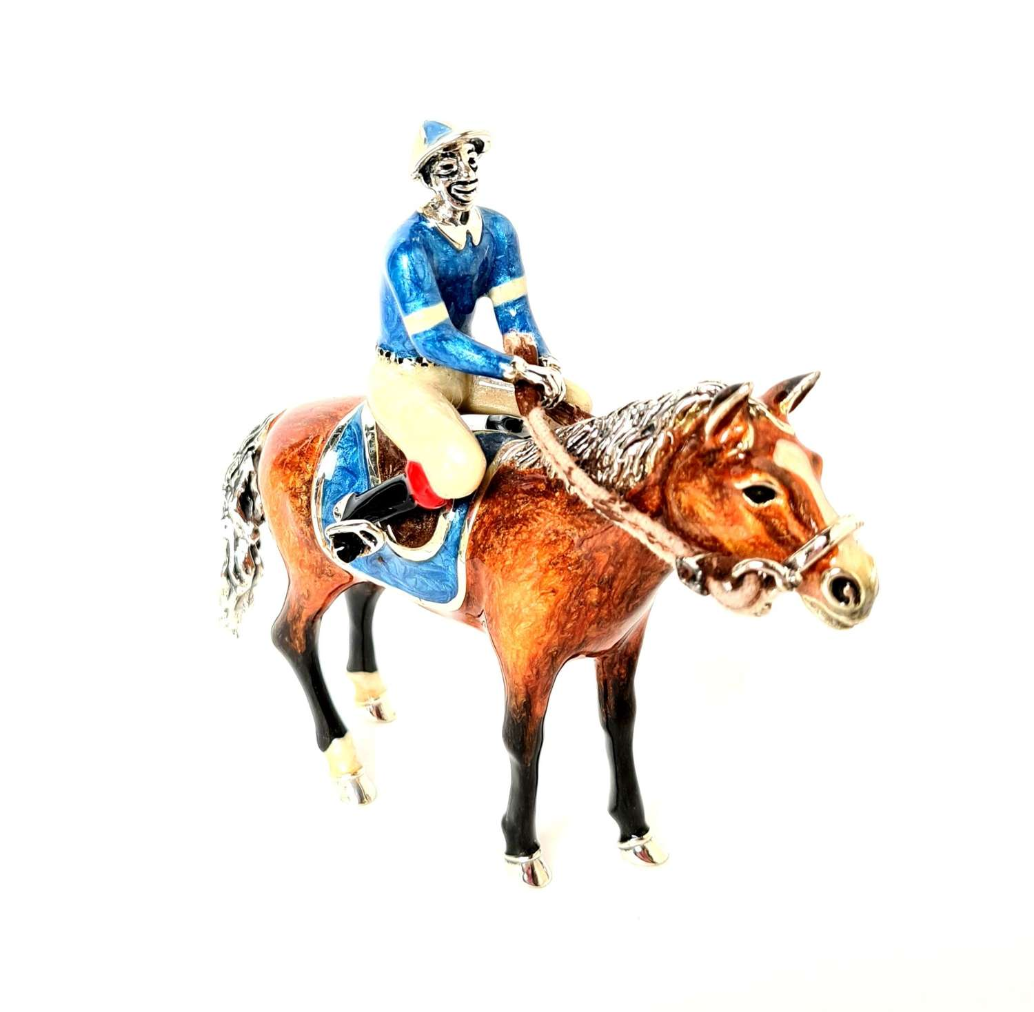 Silver and Enamel Jockey on Horse