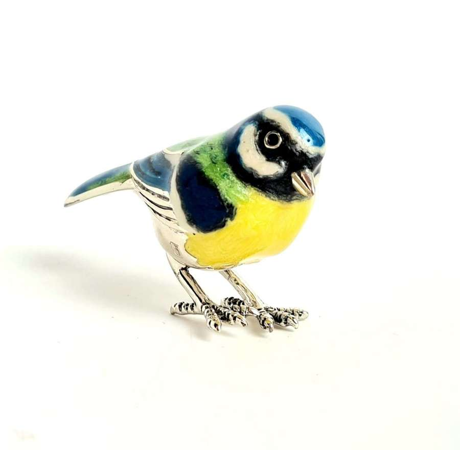 Silver and Enamel Blue Tit