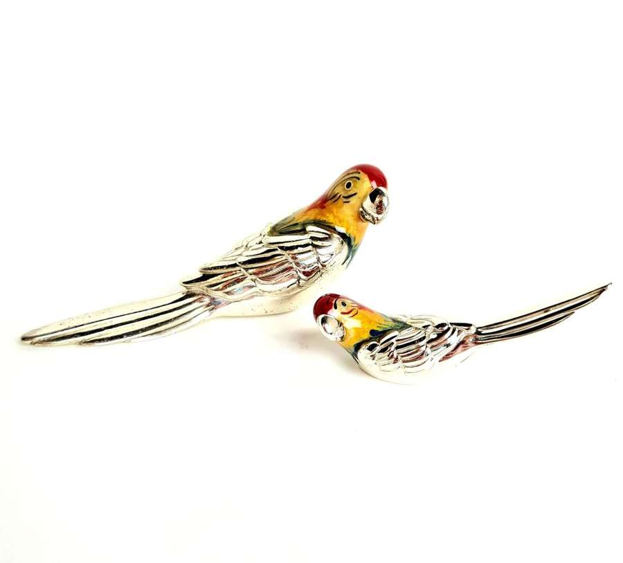 A Pair of Silver and Enamel Lovebirds