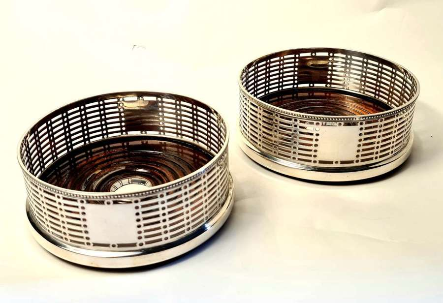 Pair of Silver Wine Coasters