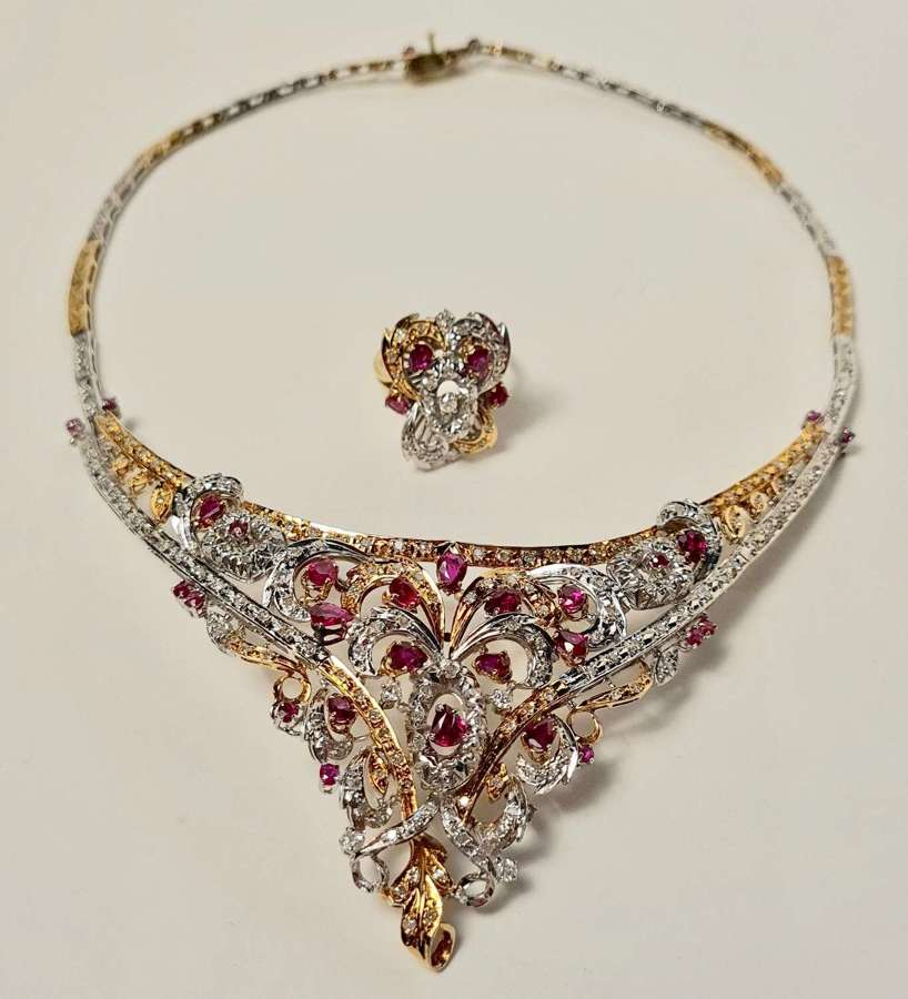 A Magnificent Ruby and Diamond Demi-Parure, Necklace and Dress Ring