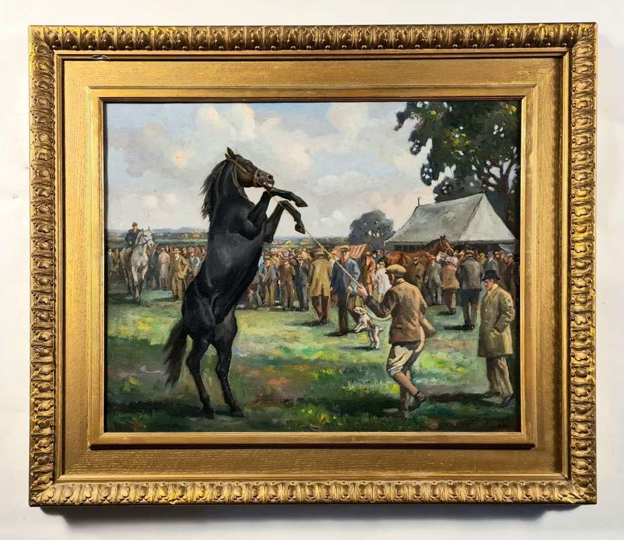 Geoffrey E. Mortimer (1895-1986) Horse rearing, at a racehorse sale
